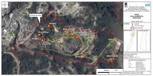 Mapa de los recorridos pedagógicos del aula ambiental Soratama